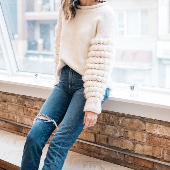 2b14cee9 Topshop Sweaters | Bubble Sleeve Looseoversized Sweater Sz S | Poshmark